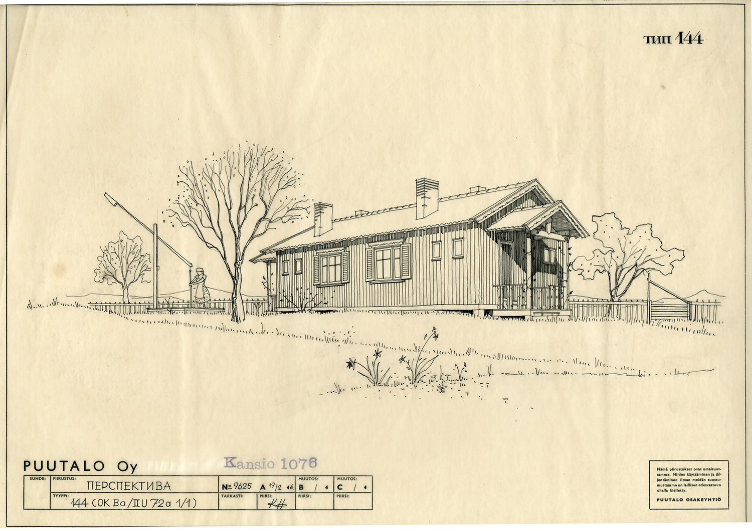 A drawing of a Puutalo Oy's house in the countryside. There is a woman in the yard fetching water from a well. There are flowers, trees and a lot of vegetation around.