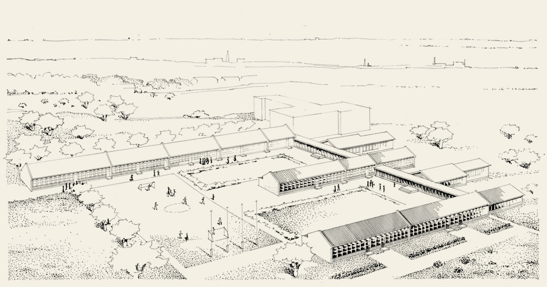 A drawing of a vast school area where there are several one-storey Puutalo wooden schools.