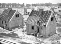A neighborhood for coal miners under construction in Upper Silesia.