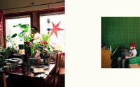 Collage of two photos. On the left a dining table full of books, papers and plants, a red paper star hanging at the window. On the right a girl with a red Christmas hat sitting in a green chair in a room with green wall-paper.